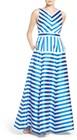 Eliza J-womens eliza j stripe jacquard ballgown