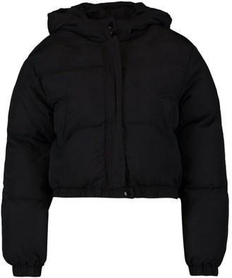 boohoo Petite Hooded Crop Padded Coat