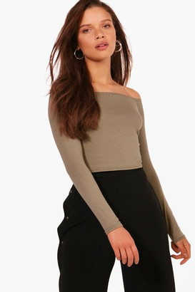 boohoo Basic Long Sleeve Off The Shoulder Crop Top