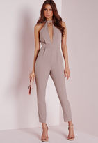 Missguided Petite Exclusive Neck Detail Romper Taupe