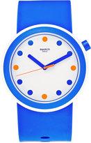 Swatch Unisex Swiss Pop Blue Silicone Strap Watch 41mm PNW103