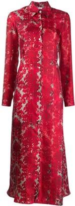 813 Silk Floral Print Shirt Dress