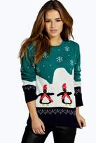 boohoo Petite Lilly Penguin Christmas Jumper
