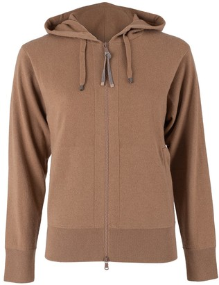 Brunello Cucinelli Caramel Cashmere Ribbed Monili Tab Zip Front Jacket