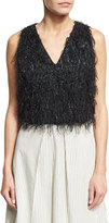 Brunello Cucinelli Sleeveless Fringe V-Neck Cropped Top