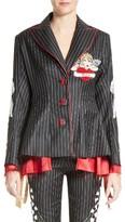 Women's Dilara Findikoglu Embellished Pinstripe Suit Jacket