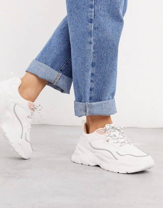 Bershka chunky trainer with grey and pink piping in white