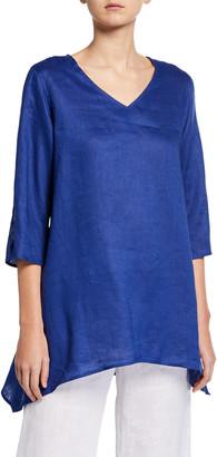 Caroline Rose Petite V-Neck Split-Sleeve Tissue-Linen Side-Fall Tunic