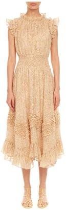 Rebecca Taylor Sleeveless Soleil Smock Dress (Soft Lemon Combo) Women's Clothing