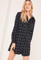 Missguided Black Check Shirt Dress
