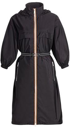 Prada Hooded Puff-Sleeve Belted Jacket