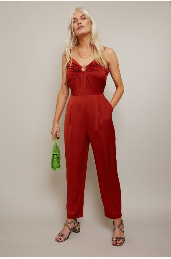 Thumbnail for your product : Little Mistress Lola Rust Jumpsuit With Ruched Bust And 0 Ring Detail