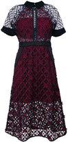 Self-Portrait floral grid dress - women - Cotton/Polyester/Spandex/Elastane - 6