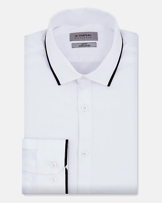Le Château Mixed Media Cotton Sateen Slim Fit Shirt