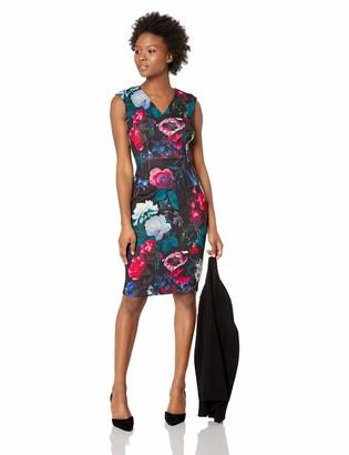 Calvin Klein Women's Petite Sleeveless Printed Sheath with V Neckline Dress