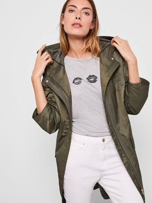 Mint Velvet Star Back Parka Coat - Khaki