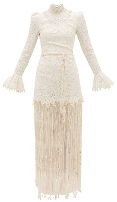 Zimmermann Wavelength Seashell Fringed Silk Gown - Ivory