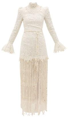 Zimmermann Wavelength Seashell Fringed Silk Gown - Womens - Ivory