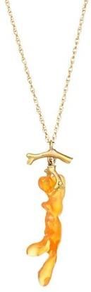 Annette Ferdinandsen Organic 18K Yellow Gold & Orange Jelly Opal Necklace