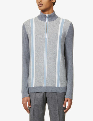 Reiss Mosel striped stretch-knit top