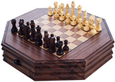 Wood Octagonal Chess & Checkers Set