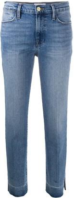 Frame High-Rise Raw-Edge Jeans