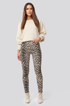 NA-KD Animal Printed High Waist Jeans