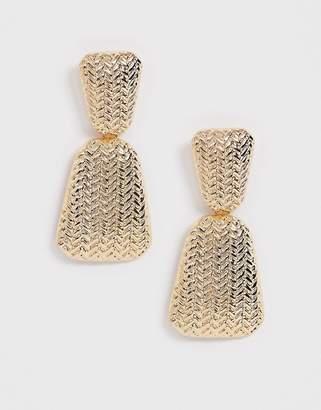 Asos Design DESIGN earrings in woven textured drop design in gold tone