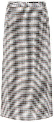 Rokh Houndstooth silk midi skirt