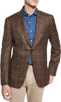 Isaia Windowpane-Check Two-Button Sport Coat, Brown