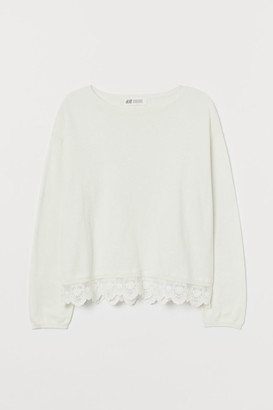 H&M Fine-knit Sweater with Lace - White