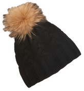 Saks Fifth Avenue Cable Cashmere Hat with Pom