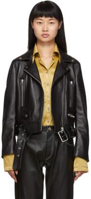 Acne Studios Black Leather Cropped Jacket