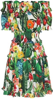 Dolce & Gabbana Exclusive to Mytheresa Printed cotton off-shoulder minidress