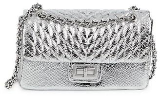 Karl Lagerfeld Paris Snakeskin-Embossed Faux Metallic Leather Shoulder Bag