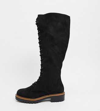 ASOS DESIGN Wide Fit Courtney chunky lace up knee high boots
