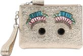 Anya Hindmarch Jeweled Eyes Crackled Leather Pouch