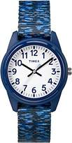 Timex Children's Quartz Watch with White Dial Analogue Display and Blue Nylon Strap TW7C12000
