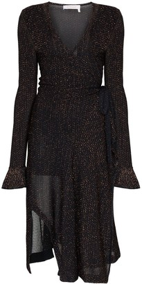 Chloé Lurex knit wrap dress
