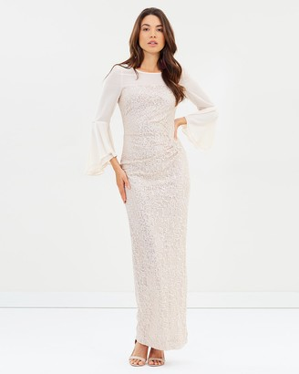 Montique - Women's Nude Maxi dresses - Amelia Bell Sleeve Gown - Size One Size, 20 at The Iconic