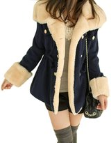 DaySeventh Winter Fashion Warm Double-Breasted Wool Blend Jacket Women Coat (S, Blue)