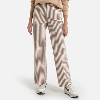 Pepe Jeans Cotton/Linen Wide Leg Trousers with High Waist in Striped Print