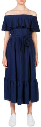 Skin and Threads Off the shoulder frill maxi dress