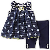 Bonnie Jean Bonnie Baby Girls Newborn-24 Months Striped To Dotted Dress & Solid Leggings Set