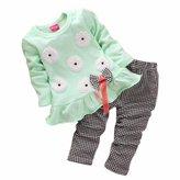 Orangeskycn Kids Girls Long Sleeve Flower Bow Shirt Plaid Pant Set Clothing (2-3Y, )