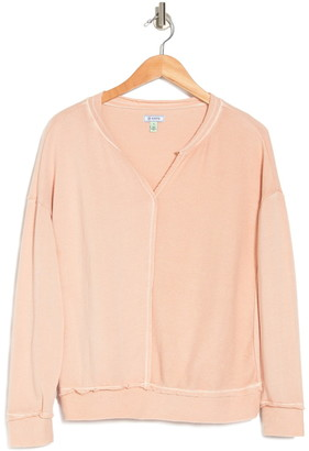 Susina Split Neck Knit Sweatshirt