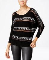 XOXO Juniors' Striped Button-Back Sweater