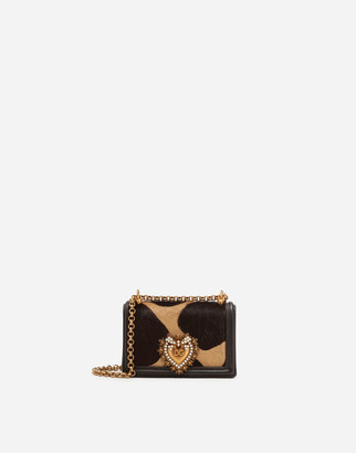 Dolce & Gabbana Devotion Micro Bag In Giraffe-Print Pony Hair