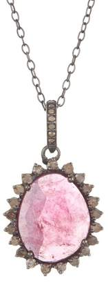 ADORNIA Sterling Silver Elena Diamond & Pink Tourmaline Pendant Necklace