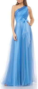 Carmen Marc Valvo Two-Toned Evening Gown